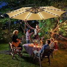 10 ft solar led offset umbrella with 40