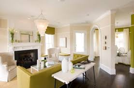 ... Apple green decor set against a white backdrop in the living space