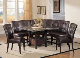 dining room table with upholstered bench. Marble Top Dining Table With Sectional Leather Upholstered Corner Bench, Room Bench