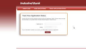 indusind bank credit card application status