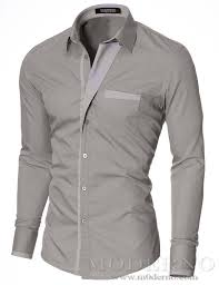 Mens Designer Grey Shirt Mens Slim Fit Button Up Long Sleeve Dress Shirt Gray