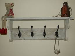 Distressed Wood Coat Rack With Shelf Extraordinary HAT AND Coat Rack With Shelf Shabby Chic Distressed Rustic White