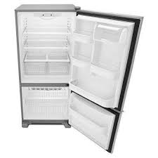 refrigerator and freezer. bottom freezer refrigerator in stainless steel and l