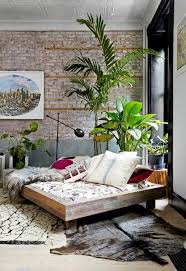boho chic furniture. shabby chic furniture boho style interior design bedroom fur carpet cushion floor lamp houseplants