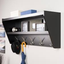 floating entryway shelf and coat rack in black