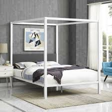 Details about Rustic Cottage White Gray Queen Metal Canopy Bed Frame w/ Upholstered Headboard