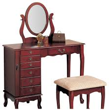 cherry makeup vanity table with mirror. coaster 8-drawer jewelry and makeup vanity table set with swivel mirror bedroom-and cherry l
