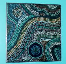 abstract mosaic wall art with cur wall art ideas design blue colored glass mosaic wall