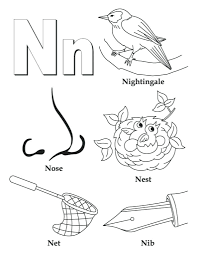 coloring page letter n pages alphabet for nose free amazing in letter n coloring page