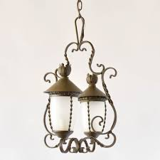 vintage french chandelier with the form of 2 lanterns