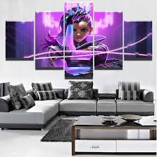 5 pieces canvas painting overwatch sombra poster modern home decor for living room wall art canvas print pictures game painting ktuluz gaming