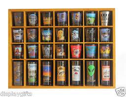 28 shot glass display case rack wall shelves shadow box holder cabinet sc11 oa