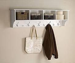 Hanging Coat Rack With Storage Fascinating Amazon White 32 Ft Entry Hall Shelf With 32 Cubby And 32 Hook Coat