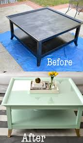 Old Coffee Table Makeovers Mint Coffee Table With Gold Feet A Makeover Little Bits Of