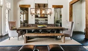 traditional dining room design with rustic dining table