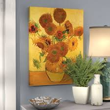 vase with fifteen sunflowers by vincent van gogh painting print on canvas