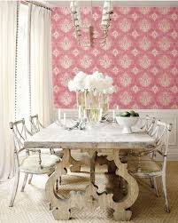 pink damask wallpaper and the painted dining room table and chairs