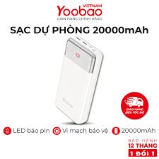 Sạc dự phòng 20000mAh Yoobao P20W Màn hình LED hiển thị dung lượng PIN -  Hàng chính hãng - Bảo hành 12 tháng 1 đổi 1