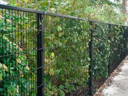 image of wire mesh fence panels in black