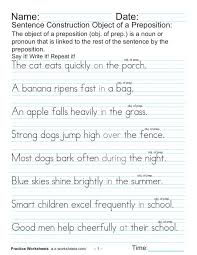 Sentence Construction: Object of a Preposition Worksheet for 4th ...