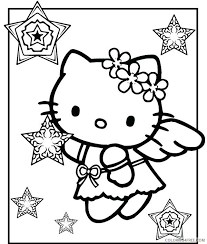 Hello kitty angel coloring page. Hello Kitty Coloring Pages Cartoons Hello Kitty Christmas Angel Printable 2020 3225 Coloring4free Coloring4free Com