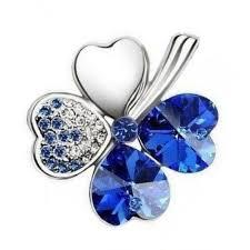 magnet pendant four leaf royal aquamarine swarovski tanzanite crystal heart shape