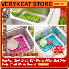 kitchen sink drain diy water filter mat drip pots shelf wash board