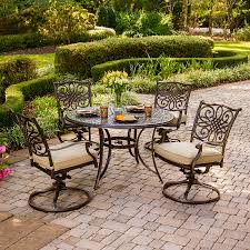hanover outdoor furniture traditions 5piece bronze metal frame patio dining set with natural oat outdoor patio dining sets a66