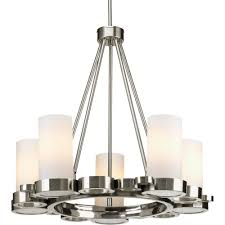 five light brushed nickel opal etched glass candle chandelier