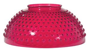 14 inch hand blown american made hobnail dome shade with stained cranberry color 6 inch height matching font sold separately