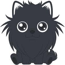 座るポメラニアン黒 犬無料イラストフリー素材