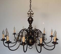 vintage antique brass 12 branch arm chandelier flemish french farmhouse light