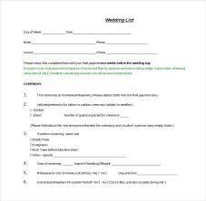 wedding list spreadsheet 13 wedding list templates free sample example format download