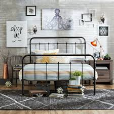 QUEEN SIZE BED FRAME Metal Headboard Footboard Adjustable Height ...