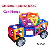 Designer Childrens Toys Us 20 69 31 Off 33pcs Magnetic Blocks Car House Model Children Educational Toy Magnetic Designer Diy Fight Inserted Blocks Sheet For Kids In Blocks