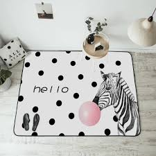 fashion modern zebra black dots pink bubble white door foot bathroom kitchen mat living room bedroom