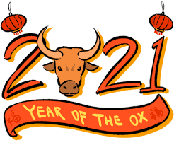 Size is 4 x 9 ( 10 x 23 cm) with red seal. Chinese New Year Year Of The Ox Gif Chinesenewyear Yearoftheox Happychinesenewyear Discover Share Gifs