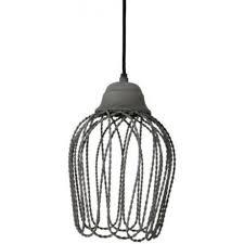 bettina open wire frame ceiling pendant light concrete grey finish