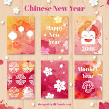 Chinese New Year Card Watercolor Chinese New Year Cards Vector Free Download