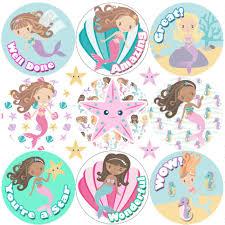 Details About 234 Mermaid Praise Word Reward Stickers For School Teachers Parents And Nursery
