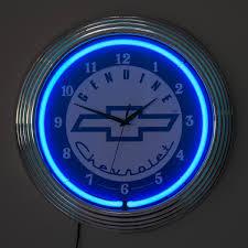 Genuine Chevrolet Bowtie Logo Neon Garage Clock | Classic Car ...