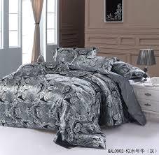 grey silver silk bedding set sheets paisley super king size queen quilt duvet cover bed in a bag linen double bedspread doona