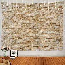 Shrahala Stone Brick Tapestry, <b>Square Pattern</b> Natural <b>Stone Wall</b>