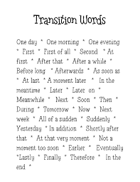 Transitions for Narratives Anchor Chart www traceeorman com
