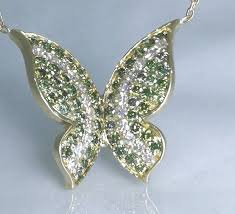 erfly pendant set with fancy intense green diamond total 1 00 ct