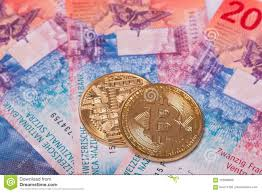 Swiss Franc Currency Chart Bitcoin Crypto Currency Coin Over Swiss Francs Bank Notes