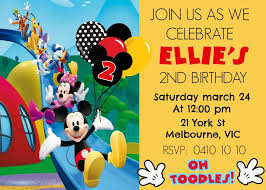 Mickey Mouse Clubhouse 2nd Birthday Invitations Mickey Mouse Clubhouse 1st Birthday Party Invitations First