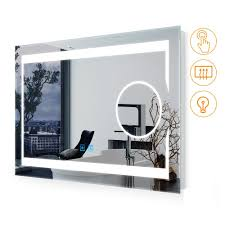 Wall Mirror With Lights Quavikey 750 X 500 Mm Led Bathroom Magnifying Mirror With Lights Illuminated Bathroom Wall Mirror With Full Demister Pad For Make Up Magnifying