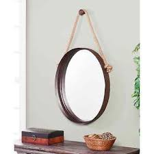 hanging decorative round wall mirror accent modern living room bathroom décor