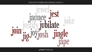 positive verbs that start with j word cloud action words